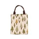 2 PCS Fashion Animal Canvas Portable Insulation Bag Lunch Bag Lunch Box Bag (Small tree)