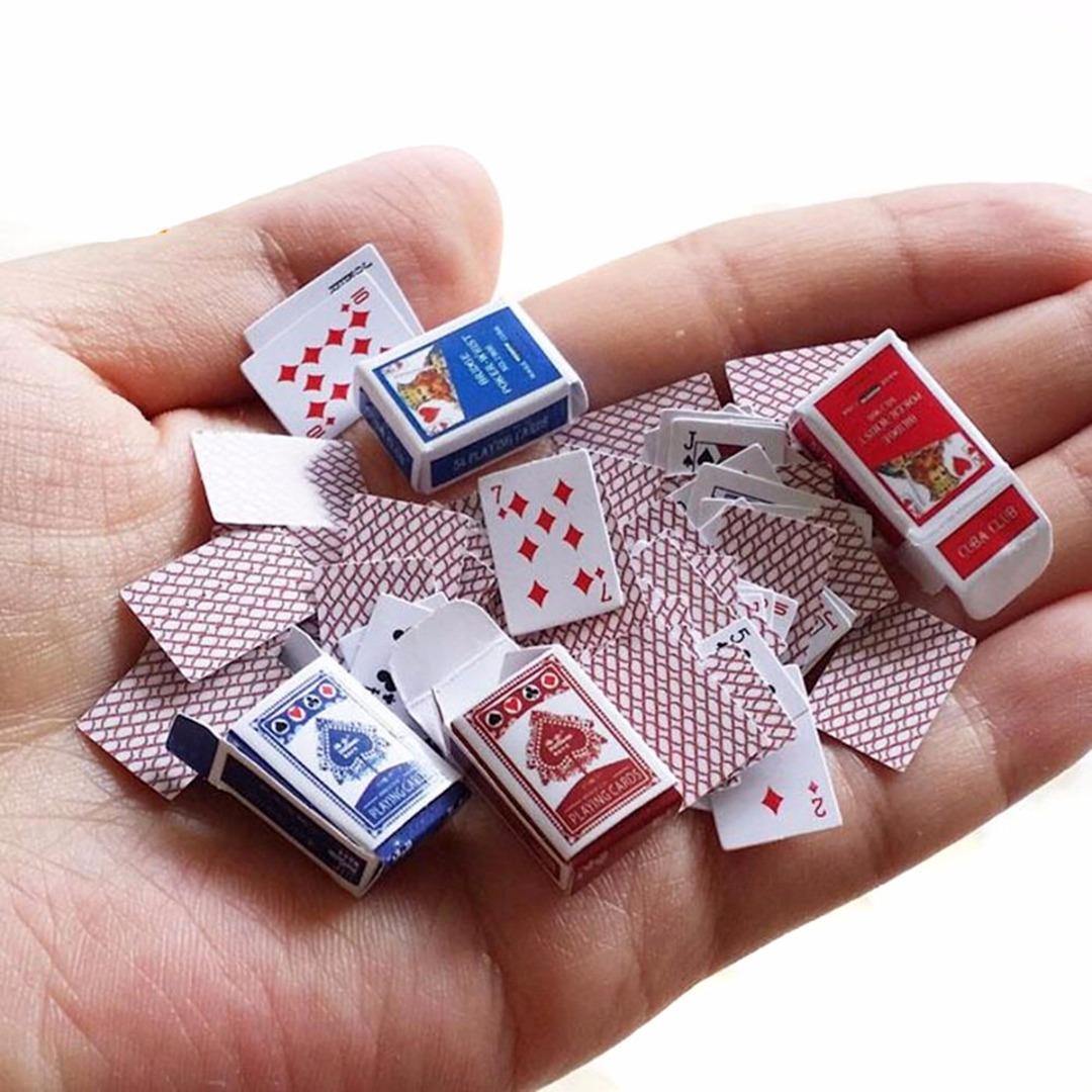 1:12 DIY Cute Dollhouse Poker Playing Cards Style Random Mini Poker Doll Accessories