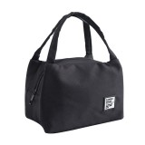 Portable Lunch Bag Thermal Insulated Lunch Box Tote Cooler Bag Bento Pouch Lunch Container School Food Storage Bags (Black)