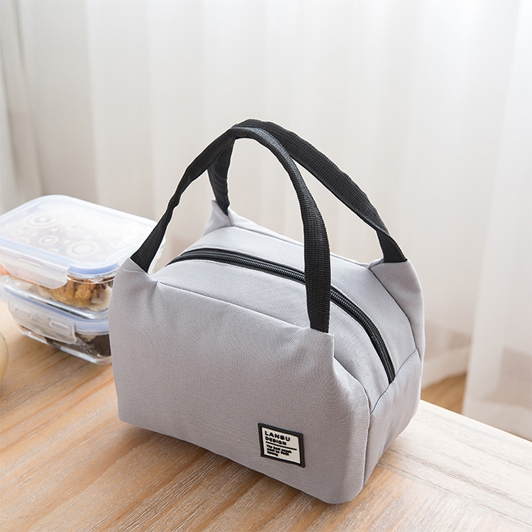 Portable Lunch Bag Thermal Insulated Lunch Box Tote Cooler Bag Bento Pouch Lunch Container School Food Storage Bags (Grey)