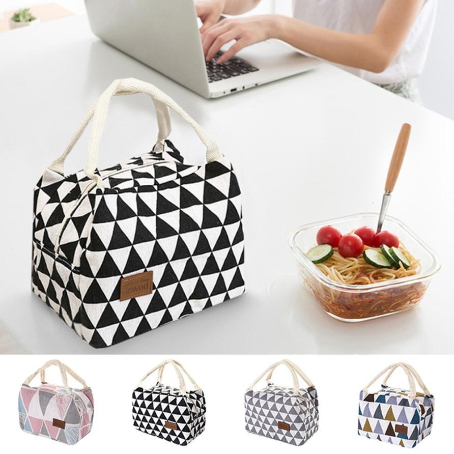 Cotton Linen Fashion Insulation Waterproof Portable Lunch Bag Insulation Bag Insulation Package (Black and white triangle)