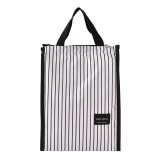 2 PCS Black White Stripes Portable Thermal Lunch Bags for Women Kids Men Food Picnic Cooler Box Insulated Tote Bag Storage Container (White stripe)