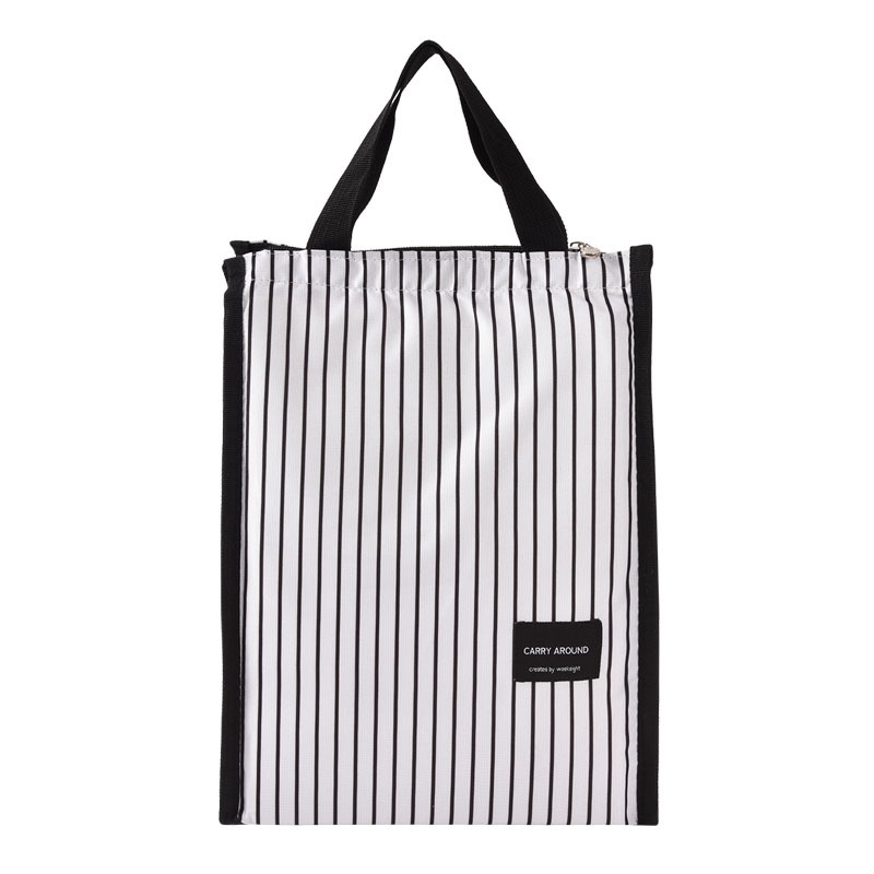 Portable Nylon Stripes School Lunch Bag Thermal Food Holder Picnic Carrty Tote