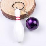 2 PCS Simulation Bowling Keychain Plastic Color Keychain Pendant, Specification: 7cm (Purple)