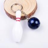 2 PCS Simulation Bowling Keychain Plastic Color Keychain Pendant, Specification: 7cm (Blue)