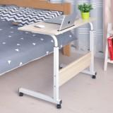 Removable Laptop Desk Lazy Bed Study Desk Bedside Computer Desk, Size:60x40cm (White Maple With Slot)