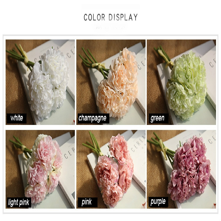 5 Heads Fake Flowers Artificial Flowers Peony Bouquet for Wedding and Home Decoration (Green)