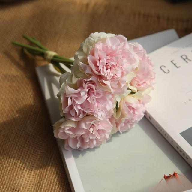 5 Heads Fake Flowers Artificial Flowers Peony Bouquet for Wedding and Home Decoration (Light Pink)