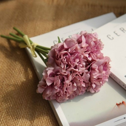5 Heads Fake Flowers Artificial Flowers Peony Bouquet for Wedding and Home Decoration (Purple)