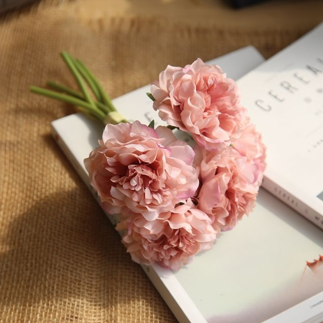 5 Heads Fake Flowers Artificial Flowers Peony Bouquet for Wedding and Home Decoration (Pink)