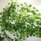 12 PCS 2.4M Artificial Ivy Green Leaf Garland Plants Vine Fake Home Decor PlasticFlower Rattan String