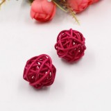 10 PCS Artificial Straw Ball For Birthday Party Wedding Christmas Home Decor (Rose Red)