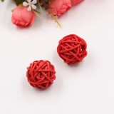 10 PCS Artificial Straw Ball For Birthday Party Wedding Christmas Home Decor (Red)