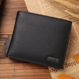 Genuine Leather Wallet Fashion Short Bifold Men Wallet Casual Soild Men Wallets With Coin Pocket Purses Male Wallets (Black)
