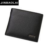 Genuine Leather Wallet Fashion Short Bifold Men Wallet Casual Soild Men Wallets With Coin Pocket Purses Male Wallets (Black)