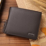 Genuine Leather Wallet Fashion Short Bifold Men Wallet Casual Soild Men Wallets With Coin Pocket Purses Male Wallets (Coffee)