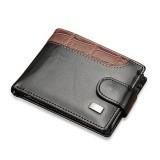 Men Vintage Leather Hasp Short Coin Pocket Purse Card Holder Wallets (Black)