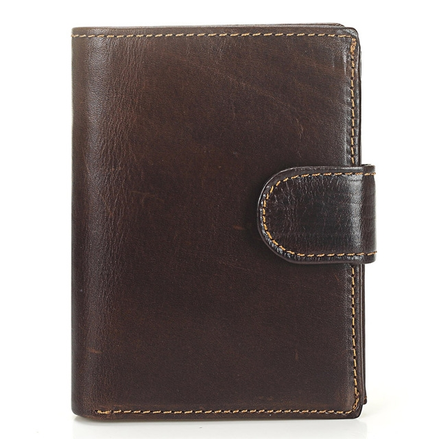 Vintage Men Wallet Genuine Leather Short Wallets Male Multifunctional Cowhide Male Purse Coin Pocket Photo Card Holder (Light Coffee)