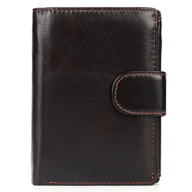 Vintage Men Wallet Genuine Leather Short Wallets Male Multifunctional Cowhide Male Purse Coin Pocket Photo Card Holder (Dark Coffee)