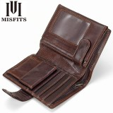 Vintage Men Wallet Genuine Leather Short Wallets Male Multifunctional Cowhide Male Purse Coin Pocket Photo Card Holder (Dark Coffee)