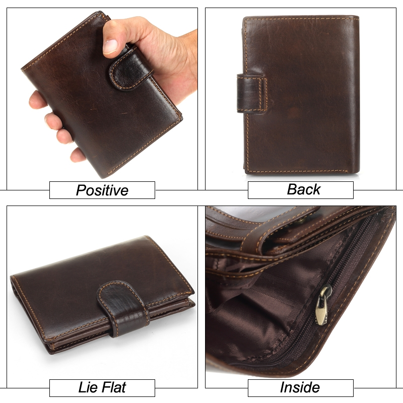Vintage Men Wallet Genuine Leather Short Wallets Male Multifunctional Cowhide Male Purse Coin Pocket Photo Card Holder (Gray)