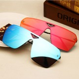 Retro Fashion Sunglasses Men and Women Coloured Lense Sun Glasses (Blue)