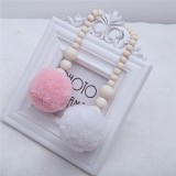 Wooden Beads Hanging Ball Hanging Ornaments Tent Decoration Children's Room Decoration (Pink White)