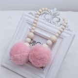 Wooden Beads Hanging Ball Hanging Ornaments Tent Decoration Children's Room Decoration (Pink)