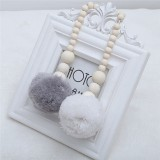 Wooden Beads Hanging Ball Hanging Ornaments Tent Decoration Children's Room Decoration (Grey White)