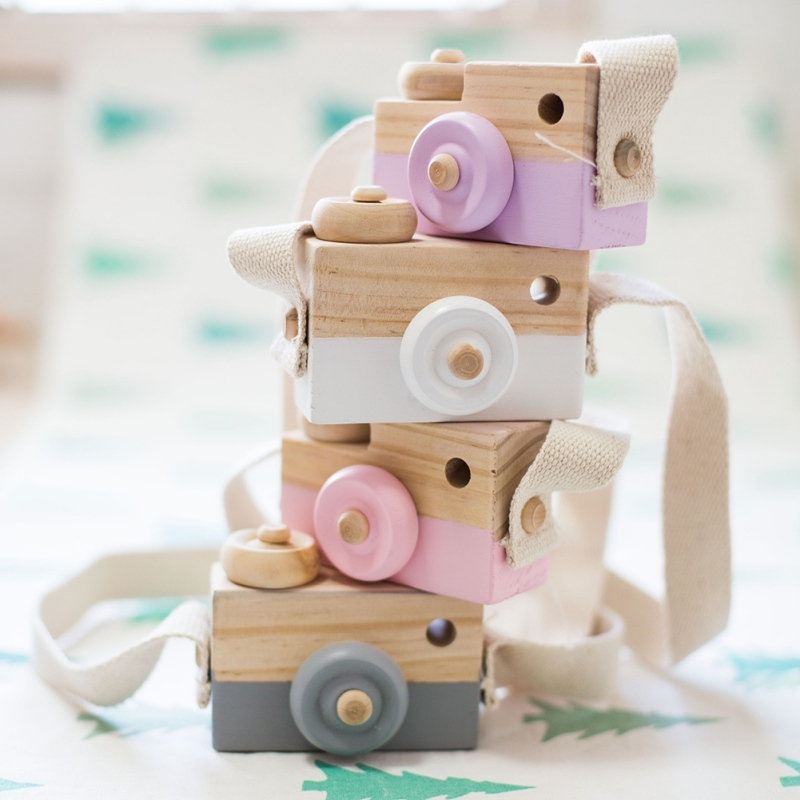 Children Wooden Camera Photography Props Creative Hand Made Toys Photo Props Decorative Ornaments (Yellow)