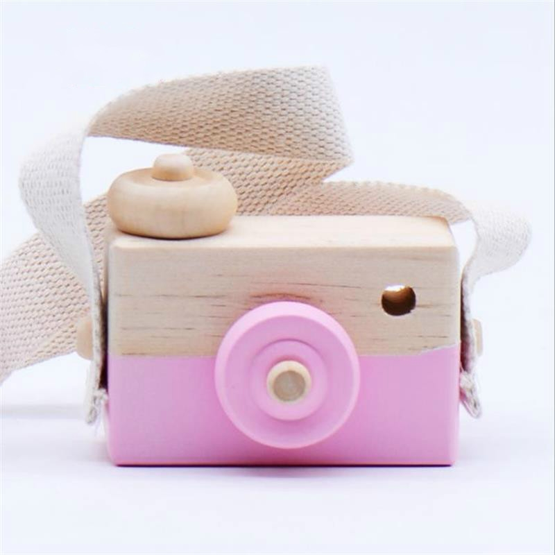 Children Wooden Camera Photography Props Creative Hand Made Toys Photo Props Decorative Ornaments (Pink)