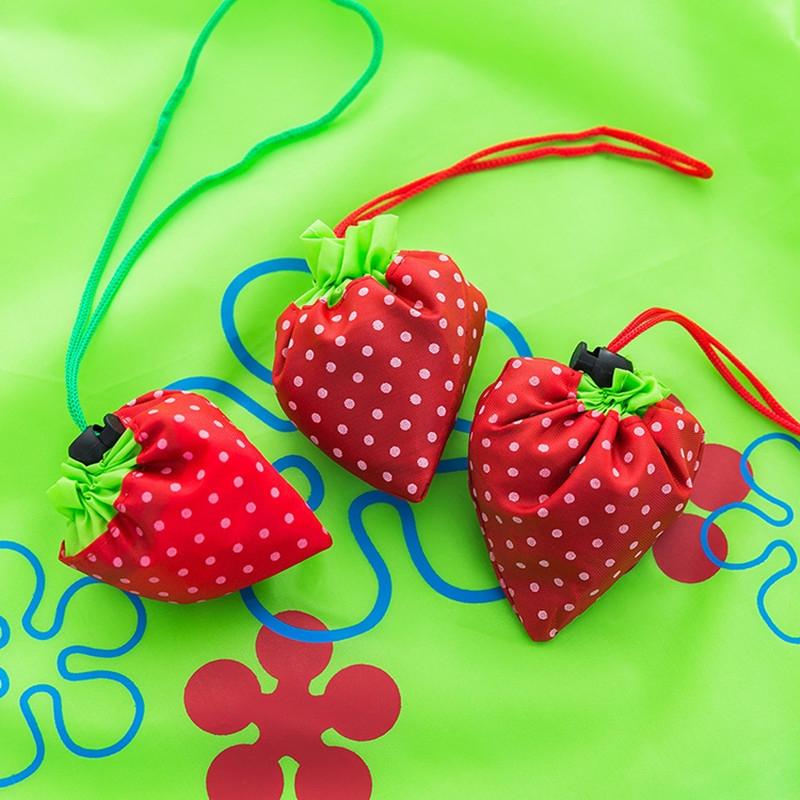 2 PCS Creative Strawberry Shopping Reusable Folding Reusable Grocery Shopping Bag (Black)