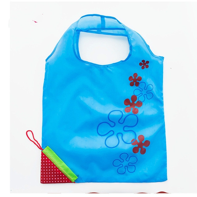 2 PCS Creative Strawberry Shopping Reusable Folding Reusable Grocery Shopping Bag (Blue)