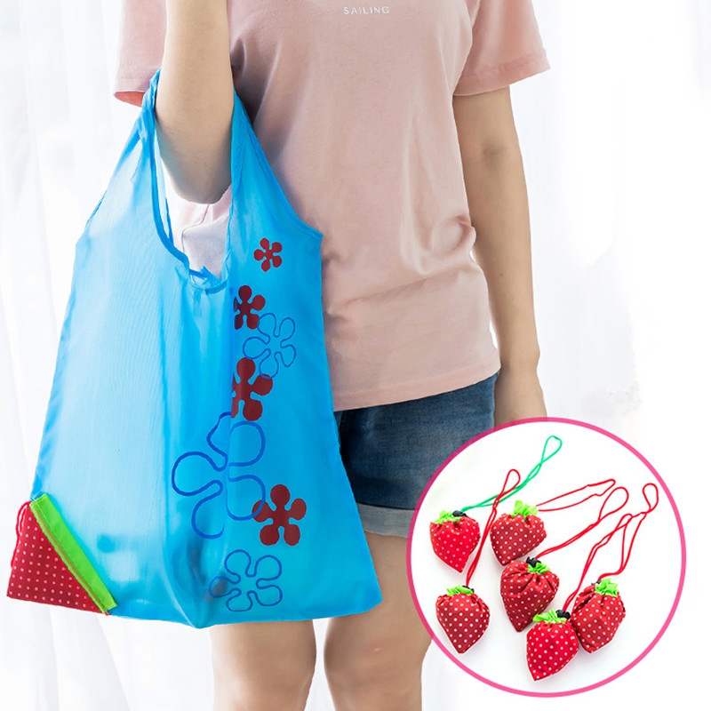 2 PCS Creative Strawberry Shopping Reusable Folding Reusable Grocery Shopping Bag (Pink)