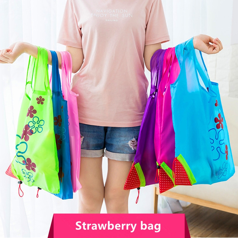 2 PCS Creative Strawberry Shopping Reusable Folding Reusable Grocery Shopping Bag (Purple)