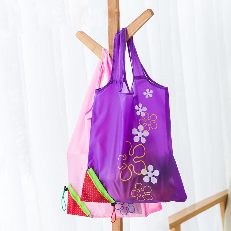 2 PCS Creative Strawberry Shopping Reusable Folding Reusable Grocery Shopping Bag (Rose Red)