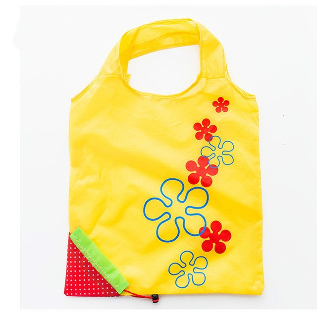 2 PCS Creative Strawberry Shopping Reusable Folding Reusable Grocery Shopping Bag (Yellow)