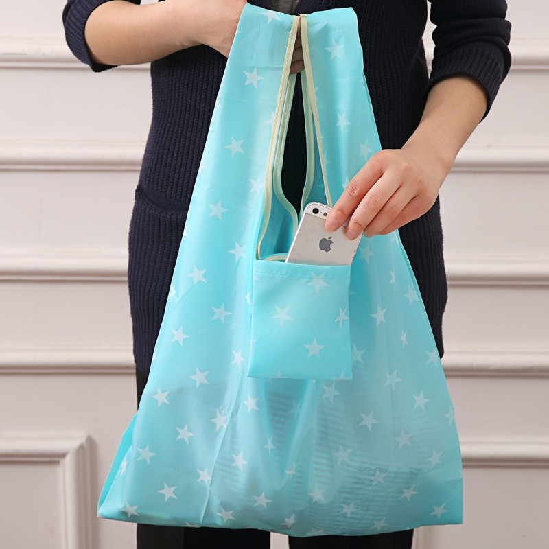 2 PCS Printing Foldable Shopping Bag Large-Capacity Storage Bags (Dark blue gypsophila)