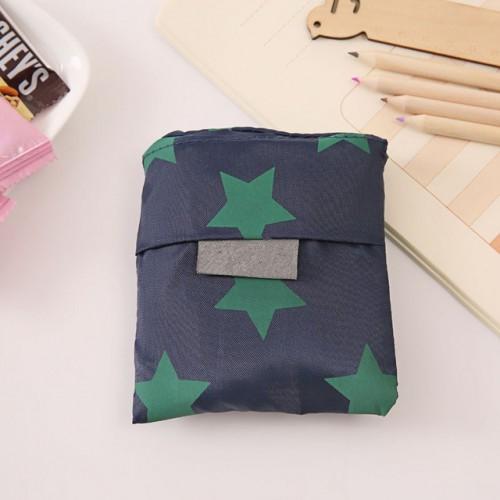 2 PCS Printing Foldable Shopping Bag Large-Capacity Storage Bags (Dark blue pentagram)