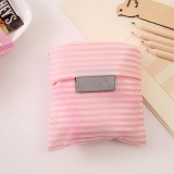 2 PCS Printing Foldable Shopping Bag Large-Capacity Storage Bags (Pink stripes)