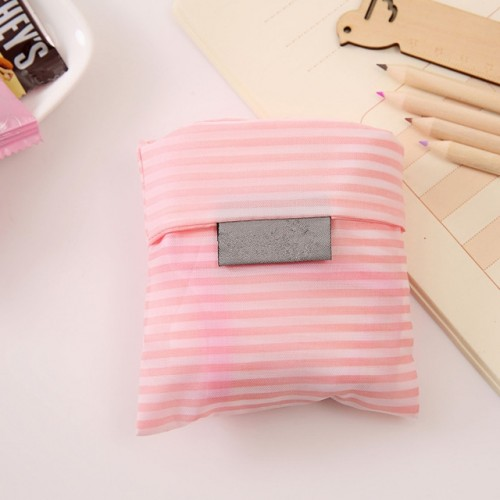2 PCS Printing Foldable Shopping Bag Large-Capacity Storage Bags (Pink stripes)