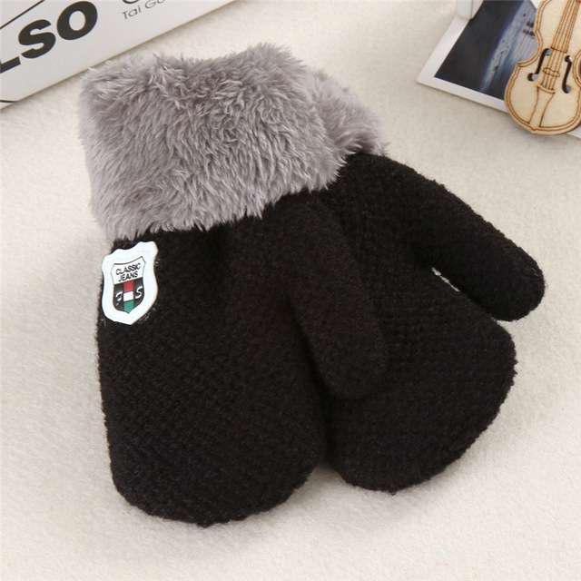 Winter Baby Knitted Warm Gloves Full Finger Mittens with Rope (Black)