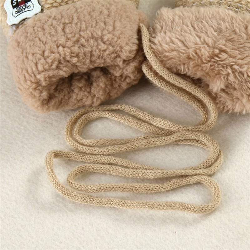 Winter Baby Knitted Warm Gloves Full Finger Mittens with Rope (Navy Blue)