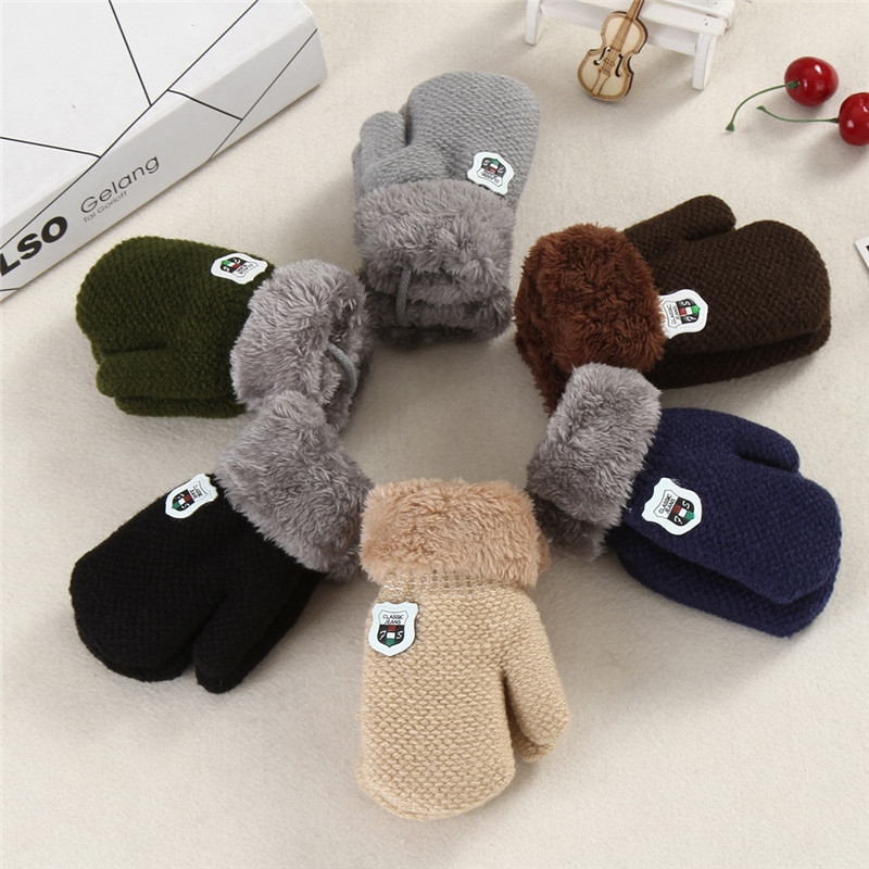 Winter Baby Knitted Warm Gloves Full Finger Mittens with Rope (Beige)