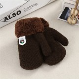 Winter Baby Knitted Warm Gloves Full Finger Mittens with Rope (Dark Khaki)