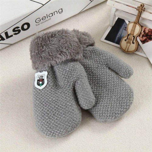 Winter Baby Knitted Warm Gloves Full Finger Mittens with Rope (Light Grey)