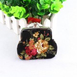 4 PCS Women Coin Purse Retro Flower Clutch Hasp Purse (Black)