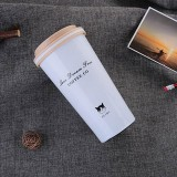 500ML Portable Stainless Steel Creative Gift Coffee Cup Office Vacuum Thermos Mug (White)