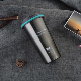 500ML Portable Stainless Steel Creative Gift Coffee Cup Office Vacuum Thermos Mug (Navy Blue)