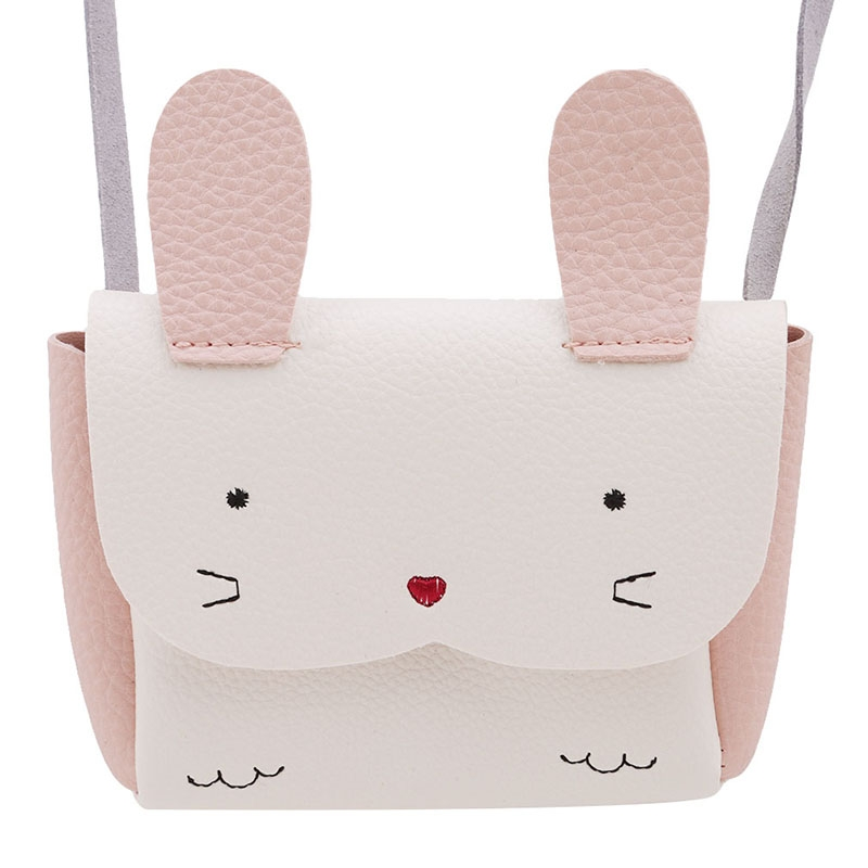 Girls PU Coin Purse Bag Wallet Kids Rabbit One Shoulder Bag Small Coin Purse (White)